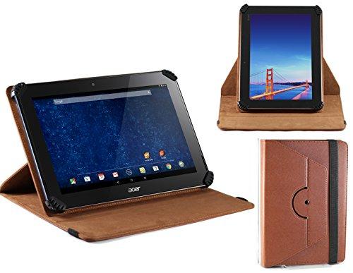 Navitech Braunes Rotierbares bycast Leder Case/Cover/Tasche/Hülle mit Stylus Pen für das Acer Iconia Tab 10 A3-A30