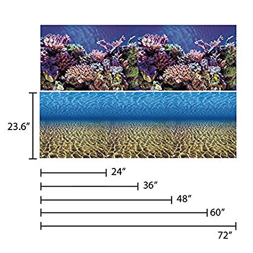 Vepotek Aquarium Background Ocean Seabed /Coral Reef Double sides (72X24H)