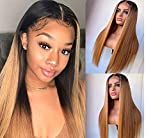 Volvetwig 4x4 Lace Closure Wig 1b27 Honey Wig Straight Echthaar Perücke Glatt mit Baby Hair Grade 7A Glueless Wig for Women Free Part 14 zoll