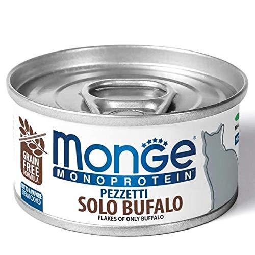 Monge Monoprotein 80g Pezzetti Solo Bufalo Cibo Umido per Gatti Monoproteico Grain Free
