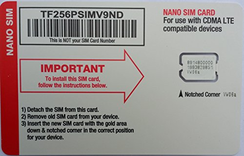 Straight Talk Verizon 4G LTE Compatible Nano SIM Card. Fits Verizon iPhone 5/5s/5c/6/6+