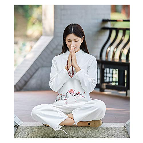 JTKDL Dames Tai Chi jurk van katoen en linnen herfst en winter meditatie