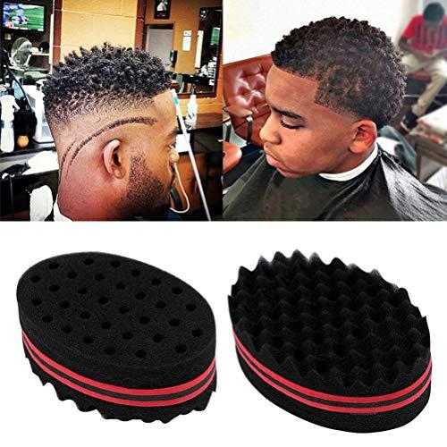2 piezas esponja para el cabello para rizos, hombres, mujeres, niños, peluquero, cepillo para el cabello, esponja, rastas, bloqueo, giro, rizo, rizo, onda, herramienta para el cuidado cabello, esponja