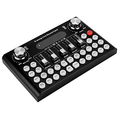 Computador ao vivo, liga de alumínio de retorno de orelha em tempo real 12 tipos de sons eletrônicos Placa de computador, 18 efeitos especiais para transmissão ao vivo de voz Voz(black)