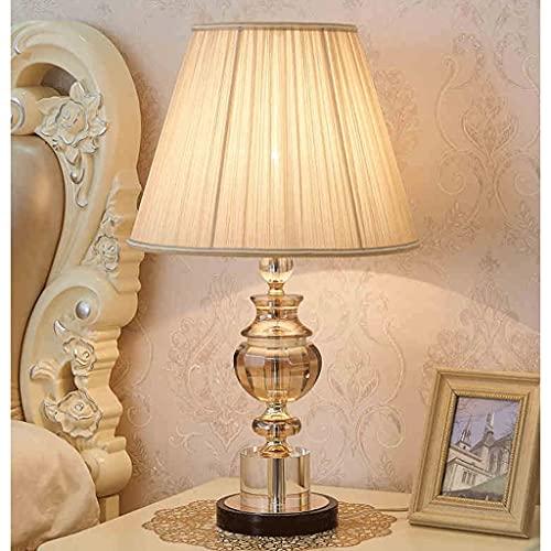 Lámpara de Mesa lámpara de Mesa de Cristal lámpara de Noche lámpara de mesita Regulable con una Columna de Cristal Columna Base Engrosada Adecuada para Sala de Estar