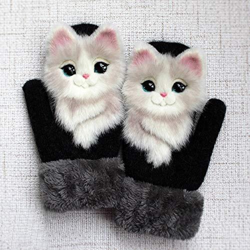 Tier Katze Hund Panda Waschbär Design Kind-Winter-warme Handschuhe 22 cm lang Nettes Mädchen Fäustlinge volle Finger-Mode weiche Prinzessin Guantes (Color : 7)