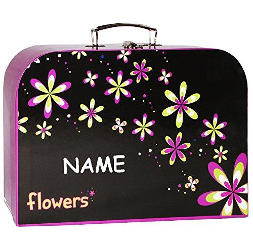 alles-meine.de GmbH Kinderkoffer -  Blumen / Blüten  - incl. Namen - Groß - Puppenkoffer Koffer - Reisekoffer aus Pappe mit Metall Griff - für Kinder Mädchen Prinzessin / Schlo..