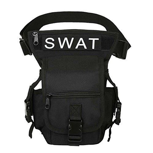 Eshow Bolso de Pierna de Cintura para Hombres Nylon Senderismo Deporte Running al Aire Libre Negro