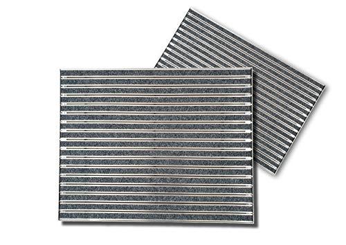 SWmat ® Fußabtreter für innen und außen| Eingangsmatte mit Alu Einbaurahmen |60 x 40 cm| hochwertiges Aluminium | Fußmatte mit hoher Reinigungswirkung | Sauberlaufmatte | Türmatte Einbau |Grau
