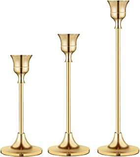 Candlestick Holders Taper Candle Holders, Brass Gold Candlestick Holder Set3 Pcs Candle Stick Holders kit Decorative Cand...