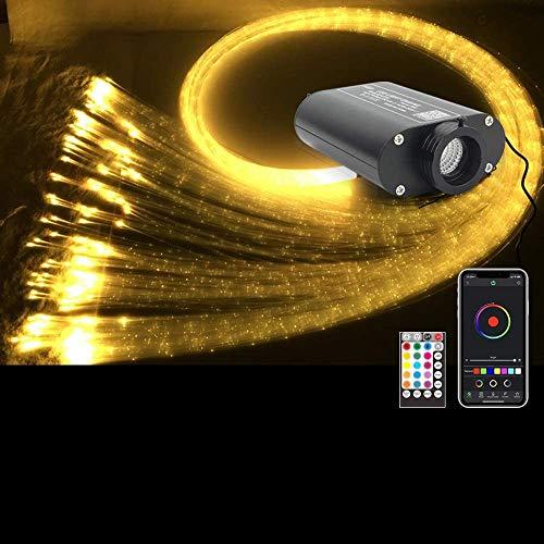 YSSMAO Bluetooth 16W RGBW LED Glasfaser Licht Stern Decke Kit Lichter APP Fernbedienung Flah Punkt Vorhang Glasfaser,450pcs 0.75mm 3m