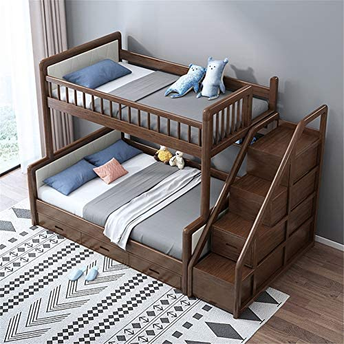 Twin Over Full Loft Beds, Bunk Beds Twin Over Full with Stairway and Storage,Solid Wood Twin Bunk Bed Frame Walnut,1.5 x 2m