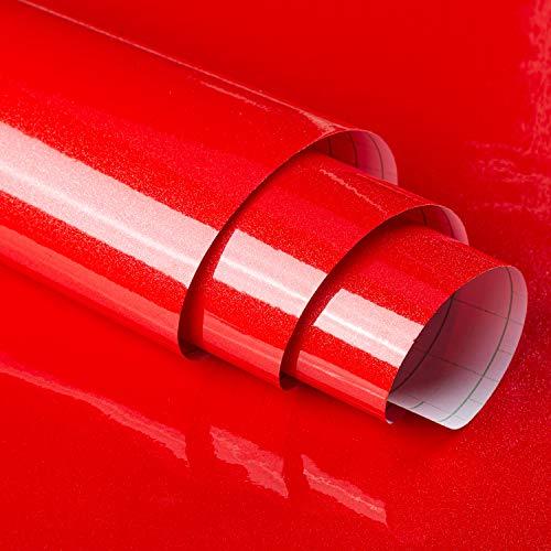 JSEVEM Glansig röd vattentät kontaktpapper självhäftande stick och skala tapet oljesäker klistermärke dekorativt för sovrum kök bänkskåp frys bord bord bord bord bord lekrum (15,74 tum x 196,85 tum)