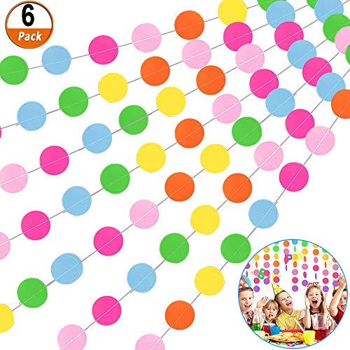 6 Packung Runde Papiergirlande Regenbogen Kreis Punkte Hängen Dekorative farbig Girlande Outdoor Dekoration Sortiert Hängende Wanddekoration Girlande für Hochzeit Party Weihnachten Geburtstagsfeier