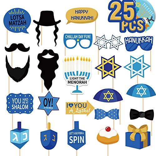 Joy Bang Hanukkah Photo Booth Props Happy Hanukkah Party Decorations Chanukah Party Favors Menorah Photo Props Kit for Chanukah Party Supplies