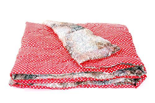1001 Wohntraum Picknickdecke 173W7 XXL 142x200cm superweich gepolstert Punkte rot/weiß Polka dots Campingdecke Decke wasserabweisend Stranddecke