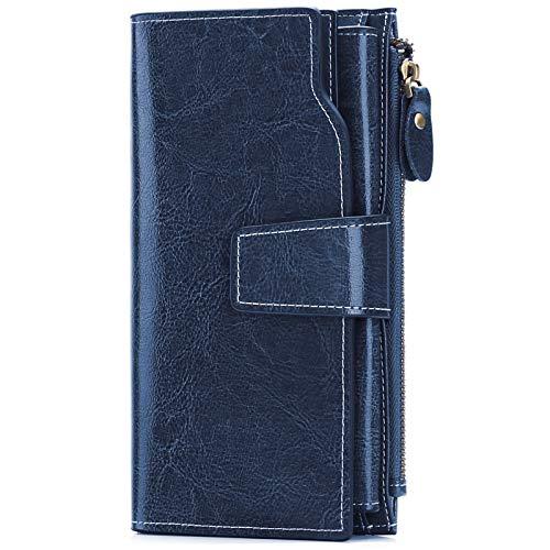 SENDEFN Portafoglio Donna Grande Capacità Pelle RFID Portamonete Donna,con 20 Titolari di Carta Cerniera Portafoglio Donna