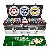 Bueuwe Poker Set 500 Pezzi Fiches Poker per Il Gioco del Poker Texas Hold'em, Fiches Casinò Professionali 11,5 Grammi con Valigia, Tovaglia, Carte Gioco E Dadi,Argento