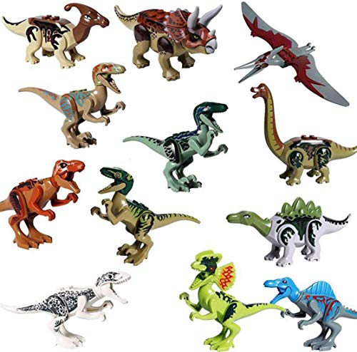 Dinosaurs Playset Building Blocks DIY Dino Action Figures,12PCS Educational Toy Idea Gift for Boys Girls Party Favors
