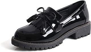 Women's Slip on Loafer Flats Tassel Casual Work School Low Heel Shoes for Girl
