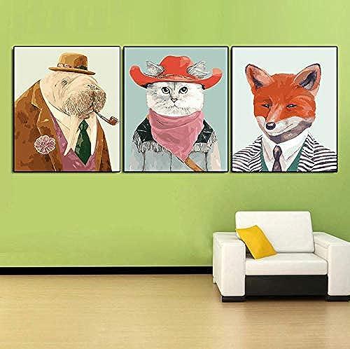 Peinture sans Cadre Photos par Nombre Animaux De Dessin Animé Acrylique Couleuriage Toile Peinte à La Main Peinture pour Salon Mur Arts DIY