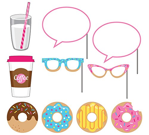 Creative Converting 10-Piece Photo Props For Party, Donut Time