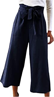 RkBaoye Women Casual High Waist Belted Cozy Solid Wide Leg Pants OL Trousers