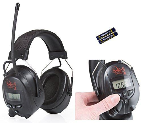 SKS 1180 Digital mit Radio FM/AM Kapselgehörschutz, Kopfhörer + MP3 Anschluss, schwarz/schwarz, Batterien und Audiokabel für MP3
