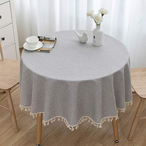 U-KIME Runde Tischdecke Solide Farbe Baumwolle Leinen Textur Nähen Quaste Spitze Tischdecke, Maschine Waschbar, Durchmesser 150cm, Hellgrau