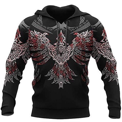 Wikinger-Sweatshirt, nordische Mythologie, Rune, Tattoo, 3D-Druck, Odin, Blut, Mond,...