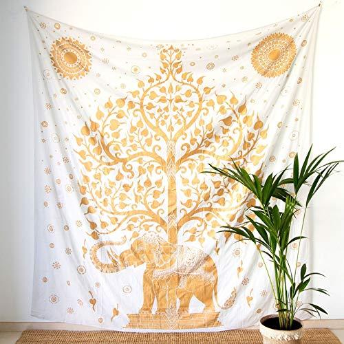MOMOMUS Tapiz Mandala Oro - 100% Algodón, Grande, Multiuso - Tapices de Pared para Decoración