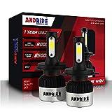 Andride Geniune H4 Hi/Lo 9000LM 6500K 72 W LED Headlight Bulbs Auto Conversion Driving Lamp Cool...