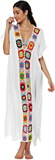 DishyKooker Vestido de Playa Larga Sexy Patchwork Raja Sexy de Mujer White One Size