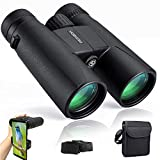 12x42 Professional Binoculars for Bird Watching with Clear Weak Light Night Vision,Easy to Focus Compact Adults Binoculars for Birding, Hunting and Travel with Phone Adapter and Bag