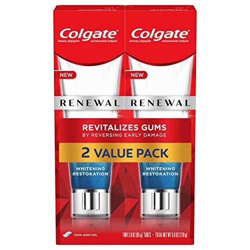 Colgate Renewal Gum Toothpaste for Gum Health, Teeth Whitening Restoration, Cool Mint Gel - 3 ounce (2 Pack)