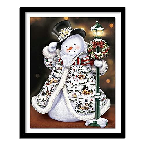 Xevkkf 5D DIY Pintura de Diamante Redondo Completo Bordado de Diamantes Navidad muñeco de Nieve Punto de Cruz Diamantes de imitación decoración del hogar 40x50cm