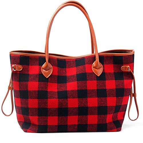 Handbags for Women Tote Shoulder Bags Buffalo Plaid Soft Flannel Oversized Bag