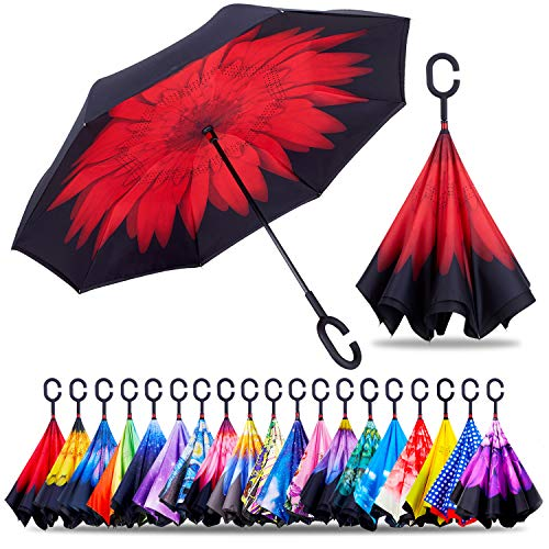 ZOTIA Double Layer Inverted Reverse Umbrella, Winproof Waterproof UV Protection Self Stand Upside Down Car Golf Outdoor Rain Umbrella with C-Shaped Handle-Red Rose (Z003-Red Rose)