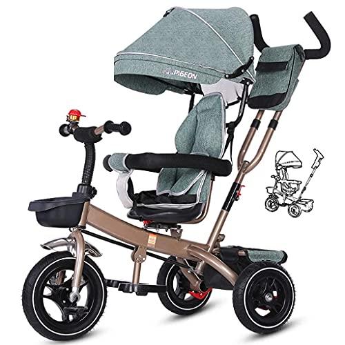 OHHG Bicicleta niños, Triciclo Trike Triciclo niños, Carrito Bicicleta niños Toldo Bicicleta Pedal Plegable Reversible Multifunción 1-3-6 años