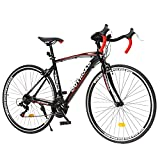 Max4out Road Bike for Men and Women with Aluminum Alloy Frame, Featuring 14 Speed, 700C Wheel and Disc Brake Bicycles (Black/21 Speed/Y Brake)