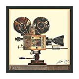 Empire Art Direct Antique Film Projector Dimensional Collage Handmade by Alex Zeng Framed Graphic Landscape Wall Art Ready to Hang, 25' x 25' x 1.4'