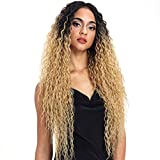 Joedir Lace Front Wigs Ombre Blonde 28'' Long Small Curly Wavy Synthetic Wigs For Black Women 130% Density Wigs(TTPN4/270A/24F)