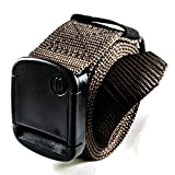 1.25 Inch Nylon Web Belt with Adjustable Buckle, Unisex (Large, Brown)