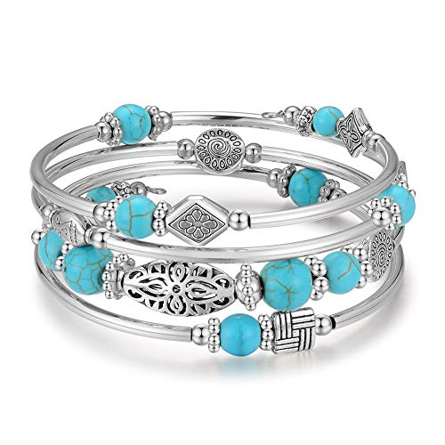 BULINLIN Layered Wrap Bangle Turquoise Bracelet - Bead Bracelet with Natural Agate Stone, Gifts for Women (01-Turquoise)
