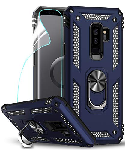 LeYi Hülle Galaxy S9 Plus Handyhülle,360 Grad Drehbar Ringhalter Cover TPU Magnetische Bumper Schutzhülle mit HD Folie Schutzfolie für Case Samsung Galaxy S9 Plus/Galaxy S9+ Handy Hüllen Dunkelblau