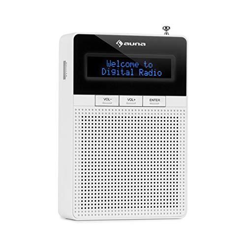 auna DigiPlug DAB - Steckdosen-Radio, DAB+ Radio mit RDS, UKW/PLL Tuner, Bluetooth, USB-Port, LCD-Display, mit integriertem Breitbandlautsprecher, weiß