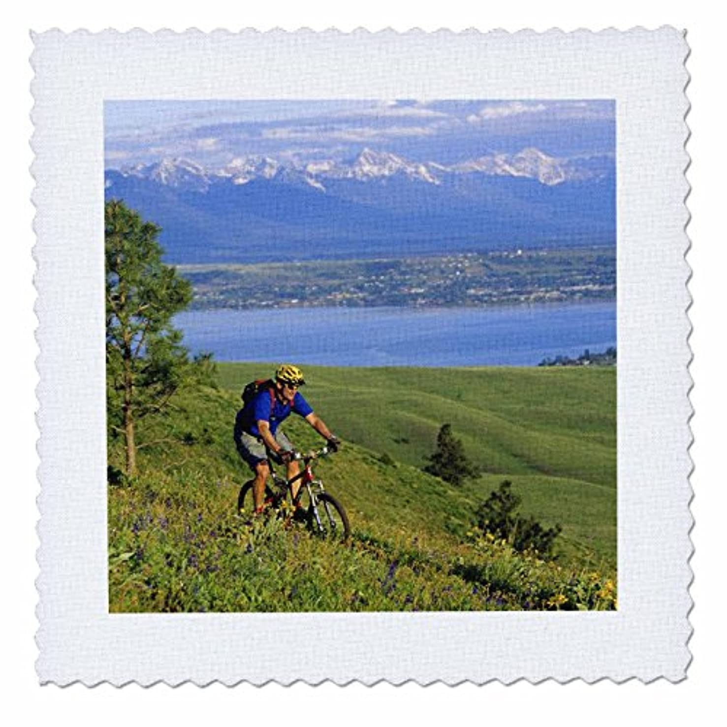 3dRose qs_91623_1 Bicycling, Mountain Biker, Flathead Lake Mission Mtns-Us27 Cha0750-Chuck Haney-Quilt Square, 10 by 10-Inch