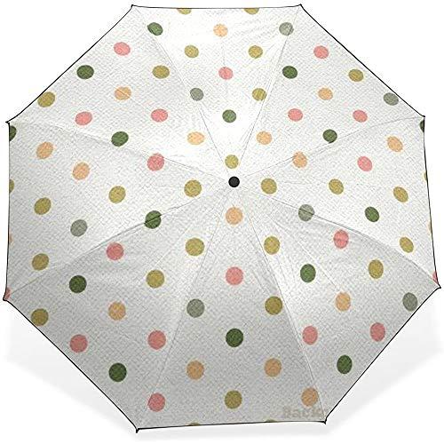 Vintage Polka Dot Pattern Winddicht Wasserdicht Kompakt Regenschirm Sonnenblock Regenschirm Faltbarer Sonnenschirm