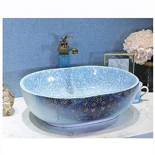 Bänkskåp Basin Sink Färgad Keramik Fartyg Sänkfat Konst, Badrum Tvättfat Sinka Stor Kapacitet Rektangel 4 * 39 * 15cm Med Kran(Color:bänkskåp Kranuppsättning)