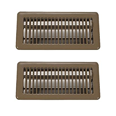 "Rocky Mountain Goods 4"" x 10"" Floor Vents 2 Pack - Heavy Duty Walkable Floor Register - Premium Finish - Easy Adjust air Supply Lever (Brown)"